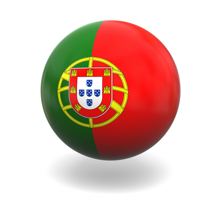 portugese: National flag of Portugal on sphere isolated on white background