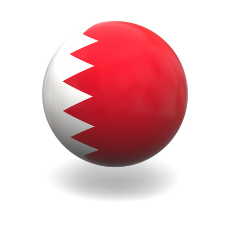 bahrain: National flag of Bahrain on sphere isolated on white background Stock Photo