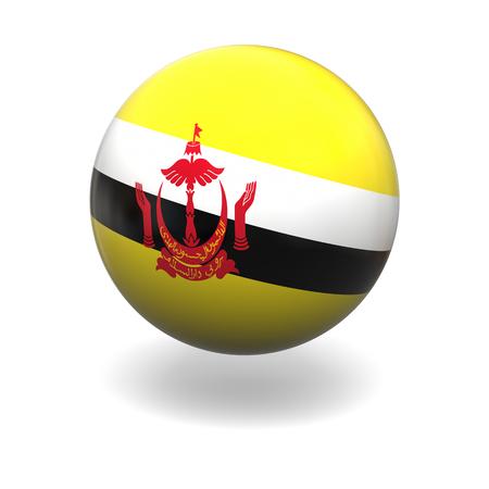 brunei: National flag of Brunei on sphere isolated on white background