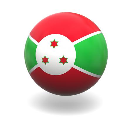 burundi: National flag of Burundi on sphere isolated on white background Stock Photo