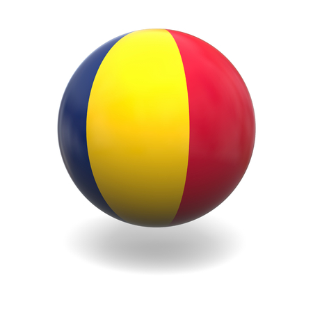 chad: National flag of Chad on sphere isolated on white background Stock Photo