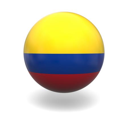 bandera de colombia: Bandera nacional de Colombia en la esfera aislada en el fondo blanco