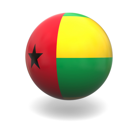 guinea bissau: National flag of Guinea-Bissau on sphere isolated on white background Stock Photo