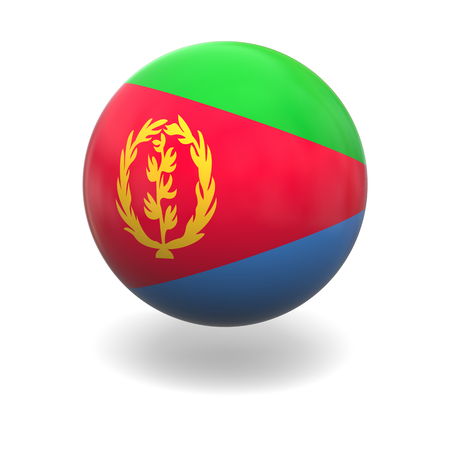 eritrea: National flag of Eritrea on sphere isolated on white background