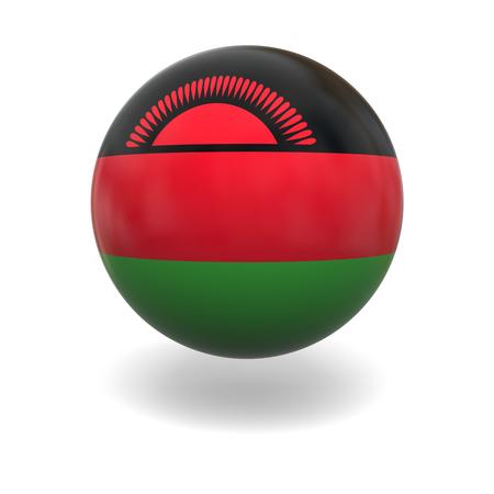 malawian flag: National flag of Malawi on sphere isolated on white background