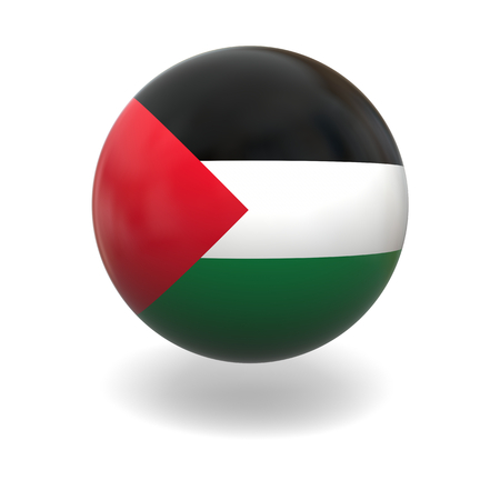 palestine: National flag of Palestine on sphere isolated on white background