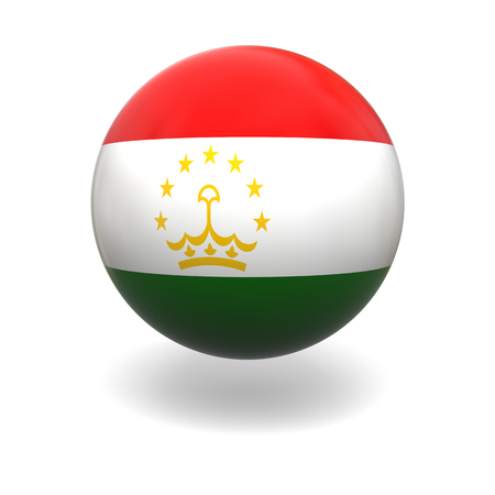 tajikistan: National flag of Tajikistan on sphere isolated on white background