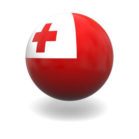 tonga: National flag of Tonga on sphere isolated on white background