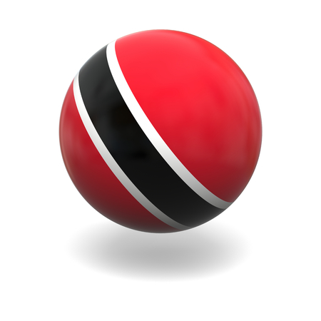 national flag trinidad and tobago: National flag of Trinidad and Tobago on sphere isolated on white background Stock Photo