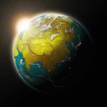 southeast: Sun over Southeast Asia on blue planet Earth isolated on black background. Highly detailed planet surface. Elements of this image furnished by NASA.
