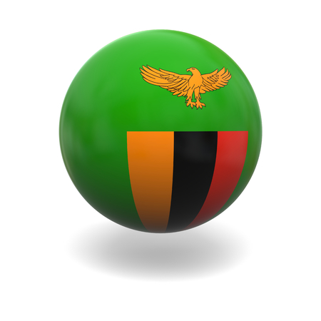 zambian flag: National flag of Zambia on sphere isolated on white background