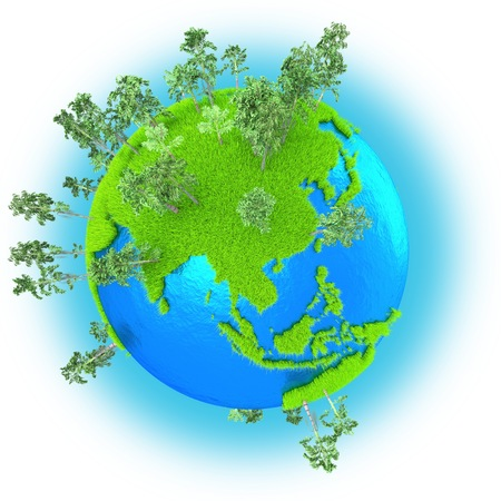 southeast: Southeast Asia on grassy planet Earth isolated on white background