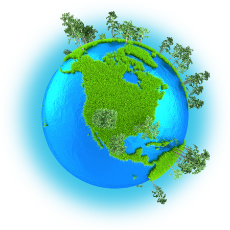 grassy: North America on grassy planet Earth with trees isolated on white background Stock Photo
