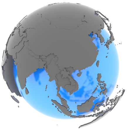 east asia: East Asia standing out of blue planet in grey, isolated on white background