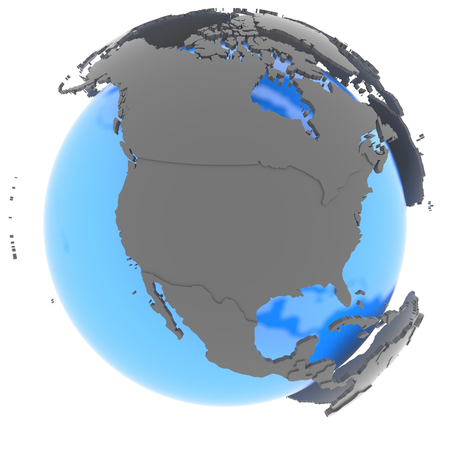 standing out: North America standing out of blue planet in grey, isolated on white background