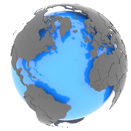 atlantic: Continent surrounding the Atlantic ocean standing out of blue Earth in grey, isolated on white background