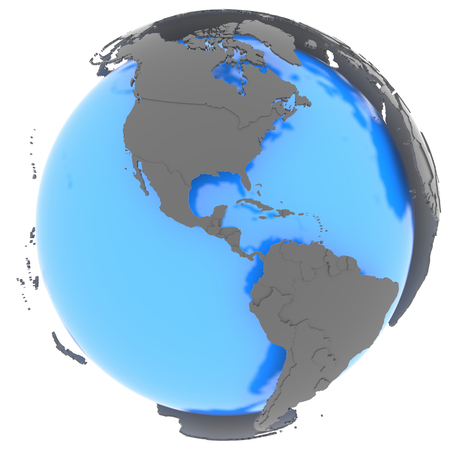 North and South America standing out of blue Earth in grey, isolated on white background photo