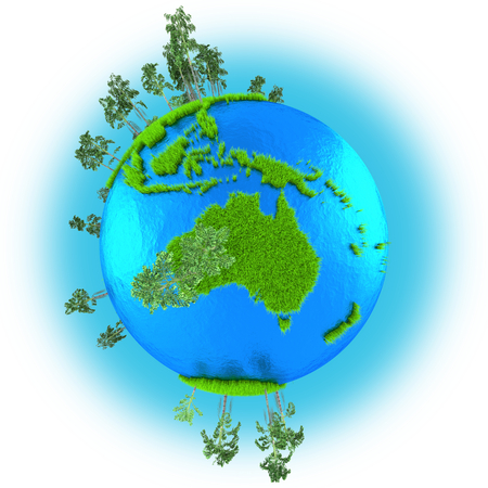 grassy: Australia on grassy planet Earth isolated on white background Stock Photo