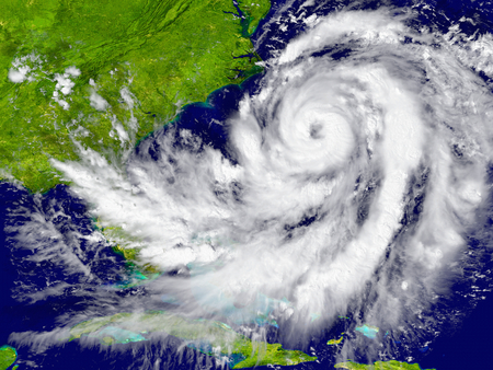 Huge hurricane over Florida and Cuba. Elements of this image furnished by NASA