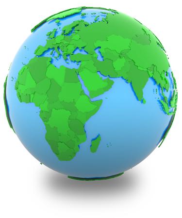 mapa politico: Hemisferio occidental, mapa pol�tico del mundo con los pa�ses en diferentes tonos de verde, aislado en fondo blanco.
