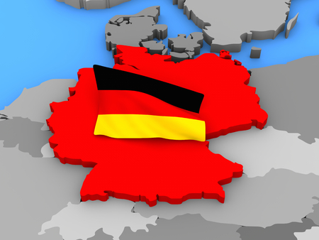 standing out: Germany standing out of the map in red with the German flag