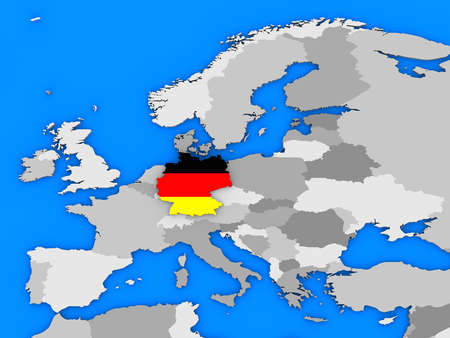 standing out: Flag of Germany in the shape of the country standing out of the map of Europe Stock Photo