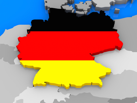 standing out: German flag in the shape of the country standing out of the map of Europe, close up