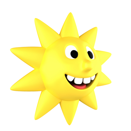 Yellow sun smiling showing teeth turned sideways, isolated on white background
