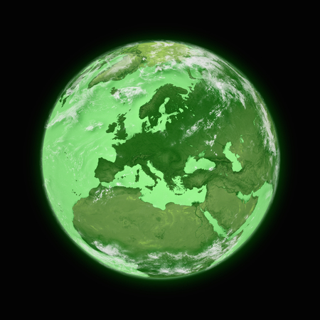 the blue planet: Europe on blue planet Earth isolated on black background. Highly detailed planet surface.