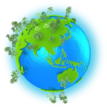 Southeast Asia and Australia on grassy planet Earth with trees isolated on white background