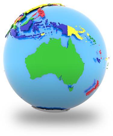 mapa politico: Mapa político de Australia con los países en cuatro colores, aislados en fondo blanco.