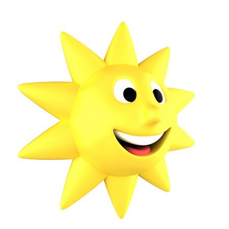 sideways: Yellow sun smiling turned sideways, isolated on white background Stock Photo