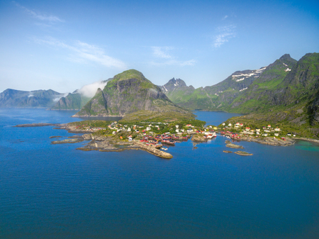 fishing huts: Breathtaking aerial view of scenic fishing village A on Lofoten islands in Norway with traditional red fishing huts