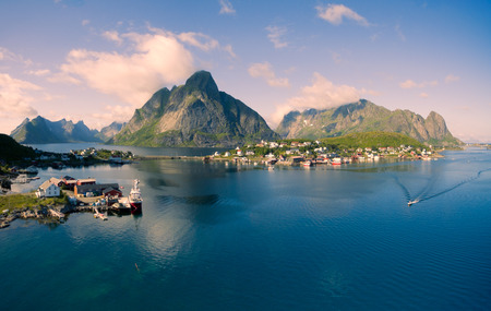 rorbuer: Breathtaking aerial panorama of fishing town Reine and surrounding fjords on Lofoten islands in Norway, famous tourist destination