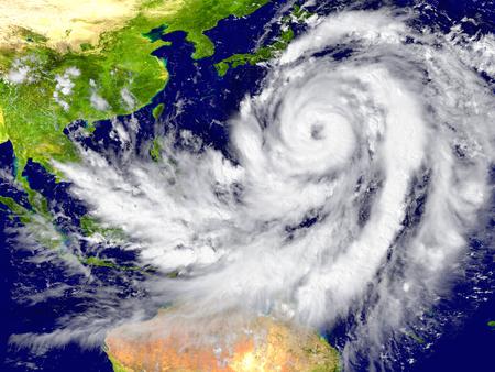 Huge hurricane north of Australia. 스톡 콘텐츠