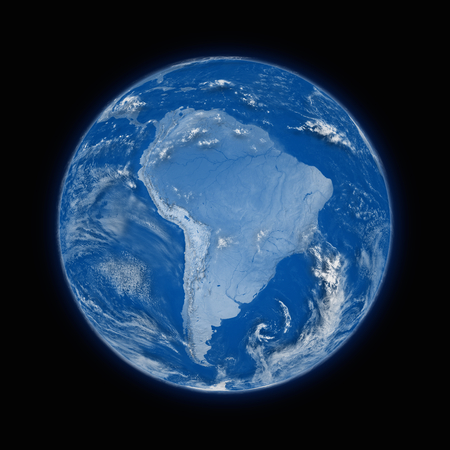 south america: South America on blue planet Earth isolated on black background.