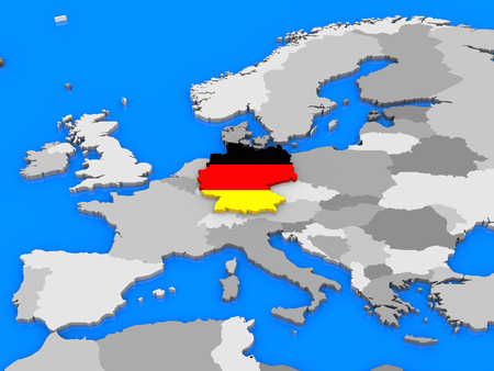 standing out: German flag in the shape of the country standing out of the map of Europe