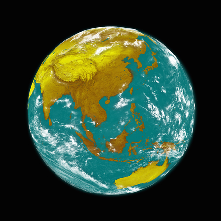southeast: Southeast Asia on planet Earth isolated on black background. Stock Photo