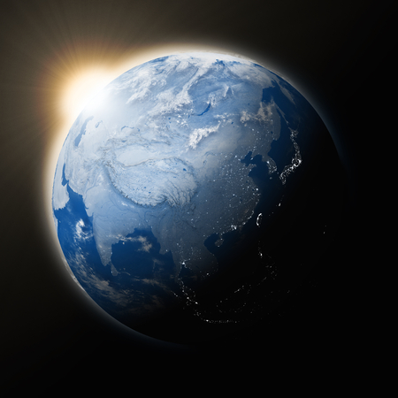 southeast: Sun over Southeast Asia on blue planet Earth isolated on black background. Highly detailed planet surface.
