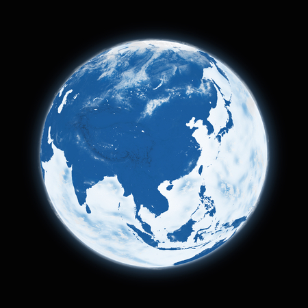 southeast asia: Southeast Asia on blue planet Earth isolated on black background. Highly detailed planet surface. Elements of this image furnished by NASA.