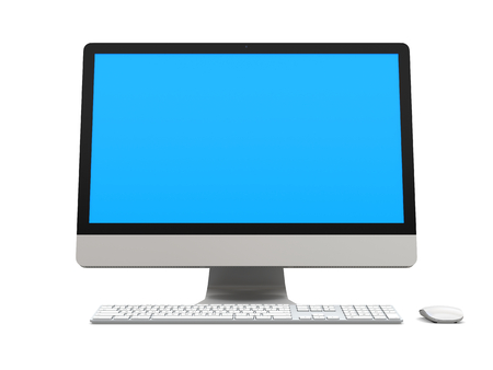 Modern desktop computer with blue screen isolated on white background Stock Photo