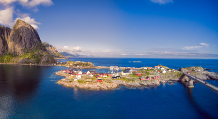 rorbu: Scenic village Hamnoya with traditional red rorbu cabins on Lofoten islands in Norway