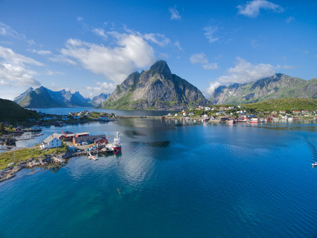tourist destination: Aerial view of fishing town Reine and on Lofoten islands in Norway, famous tourist destination Stock Photo