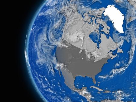 continente americano: Ilustraci�n del continente de Am�rica del Norte en el globo pol�tico con caracter�sticas atmosf�ricas y las nubes Foto de archivo