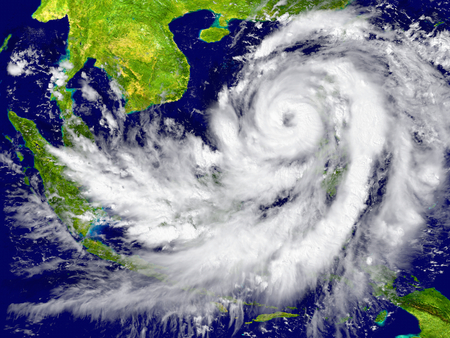 Huge hurricane near Southeast Asia.  Banque d'images