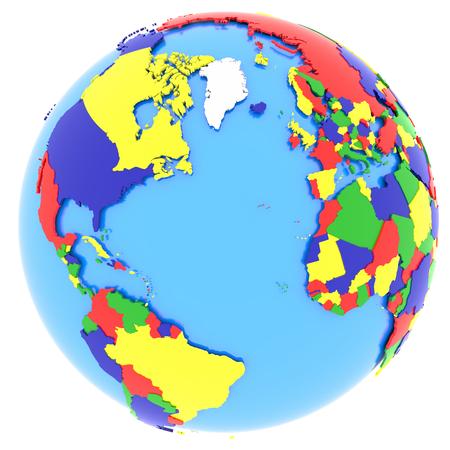 globo terraqueo: Mapa pol�tico de hemisferio occidental con los pa�ses en cuatro colores, aislados en fondo blanco.