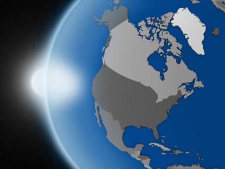 continente americano: Puesta de sol sobre el planeta Tierra como si se ve desde el espacio, pero con las fronteras pol�ticas encaminadas a continente norteamericano