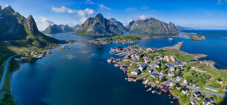 tourist destination: Breathtaking aerial panorama of fishing town Reine on Lofoten islands, famous tourist destination in Norway Stock Photo
