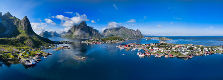 fishing industry: Aerial panorama of Reine, scenic fishing town on Lofoten islands in Norway