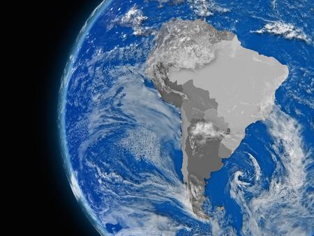 continente americano: Ilustración del continente suramericano en el globo político con características atmosféricas y las nubes